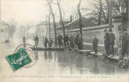 """CPA FRANCE 92 """"Villeneuve La Garenne, l'avenue de Genneviers"""" / INONDATION 1910"""