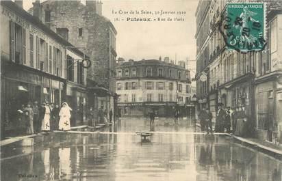 """CPA FRANCE 92 """"Puteaux, rue de Paris"""" / INONDATION 1910"""