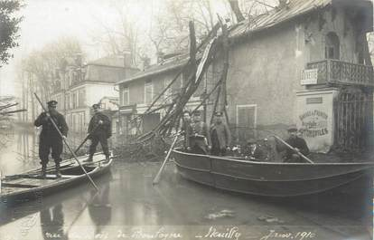 "CARTE PHOTO FRANCE 92 ""Neuilly, rue du Bois de Boulogne"" / INONDATION 1910"