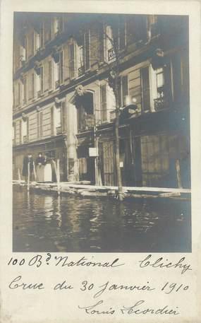 "CARTE PHOTO FRANCE 92 ""Clichy, bld National"" / INONDATION 1910"