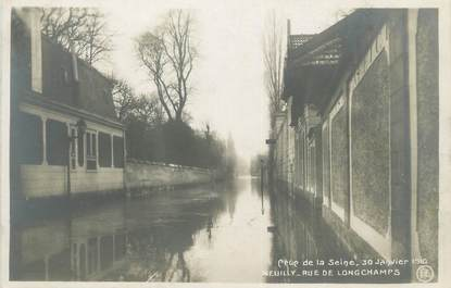 """CPA FRANCE 92 """"Neuilly, rue de Longchamps"""""""" / INONDATION 1910"""