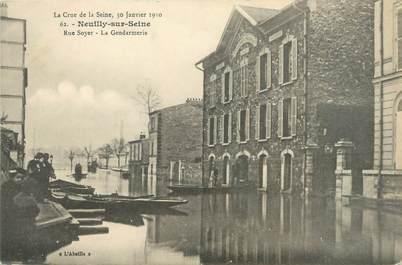 "CPA FRANCE 92 ""Neuilly, rue Soyer, la gendarmerie"""" / INONDATION 1910"