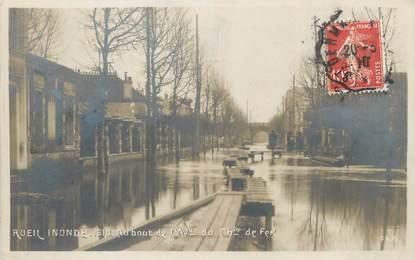 """CPA FRANCE 92 """"Rueil, au bout de l'avenue du chemin de fer"""" / INONDATION 1910"""