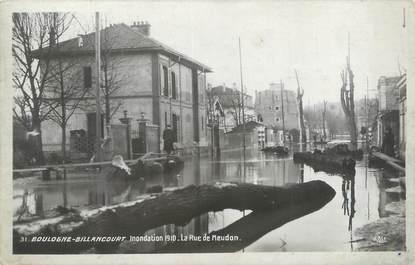"""CPA FRANCE 92 """"Boulogne Billancourt, la rue de Meudon"""" / INONDATION 1910"""