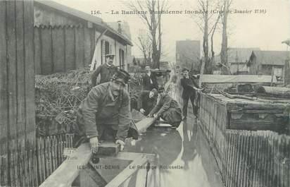 """CPA FRANCE 93 """"Ile Saint Denis, le passage Rousselle"""" / INONDATION 1910"""