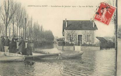 """CPA FRANCE 94 """"Joinville le Pont, la rue de Paris"""" / INONDATION 1910"""
