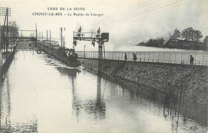 """CPA FRANCE 94 """"Choisy le Roi, le rapide de Limoges"""" / INONDATION 1910"""