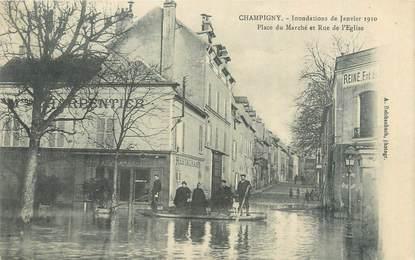 """CPA FRANCE 94 """"Champigny, place du marché et rue de l'église"""" / INONDATION 1910"""