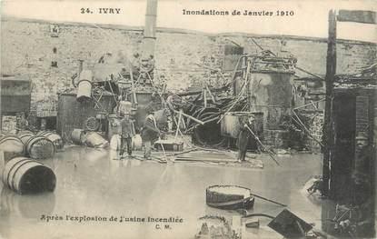 """CPA FRANCE 94 """"Ivry, après l'explosion de l'usine incendiée"""" / INONDATION 1910"""