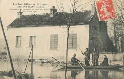 """CPA FRANCE 94 """"Saint Maur, blanchisserie Baumann au pont de Créteil"""" / INONDATION 1910"""
