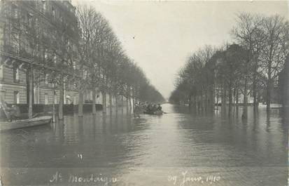 "CARTE PHOTO FRANCE 75008 ""Paris, avenue Montaigne"" / INONDATION 1910"