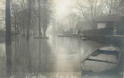 """CARTE PHOTO FRANCE 75 """"Paris, Ile de la Jatte"""" / INONDATION 1910"""