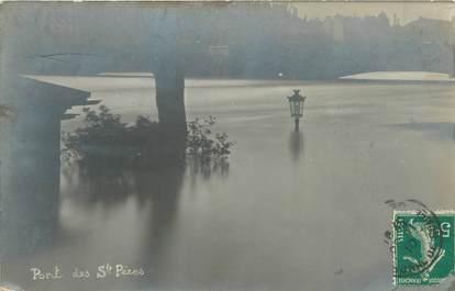 """CARTE PHOTO FRANCE 75 """"Paris, pont des Saint Pères"""" / INONDATION 1910"""