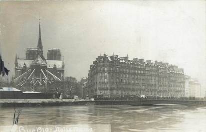 "CARTE PHOTO FRANCE 75 ""Paris, Notre Dame"" / INONDATION 1910"