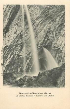 """CPA FRANCE 39 """"Baume les Messieurs, la grande cascade et l'entrée des grottes"""" / Ed. R. CHAPUIS"""