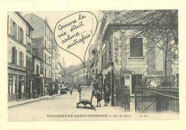 "CPSM FRANCE 94 ""Villeneuves Saint Georges, rue de Paris"""