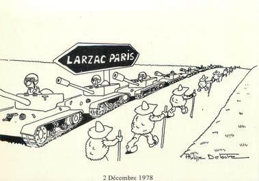 """CPSM FRANCE 12 """"Larzac Paris, dessins de Philippe Delestre"""""""