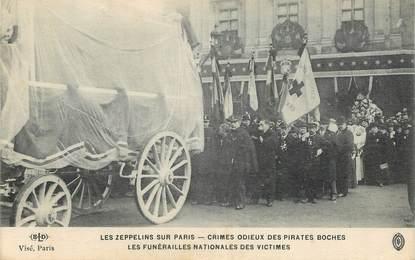 """CPA FRANCE 75 """"Paris,  Crimes des allemands, les zeppelins sur Paris, les funérailles"""" / AVIATION"""