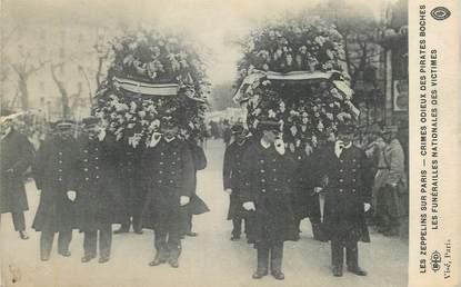 """CPA  FRANCE 75 """"Paris,  Crimes des allemands,  les zeppelins sur Paris, les funérailles"""""""