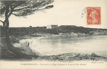"""CPA FRANCE 83 """"Porquerolles, un coin de la plage d'argent et le fort"""""""