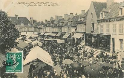 """CPA FRANCE 18 """"Saint Amand Montrond, la Place du Marché, pharmacie"""""""