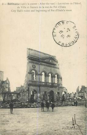 "CPA FRANCE 62 ""Béthune, les ruines de l'Hotel"""