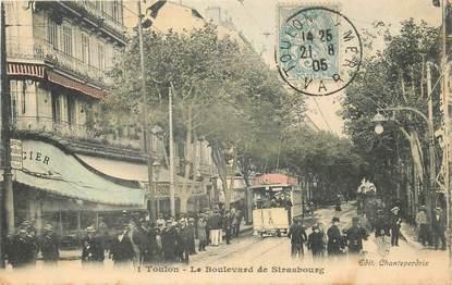 """CPA FRANCE 83 """"Toulon, le Bld de Strasbourg"""" / TRAMWAY"""