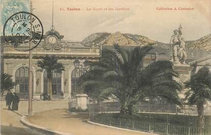 """CPA FRANCE 83 """"Toulon, la gare et les jardins"""""""
