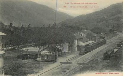 """CPA FRANCE 09 """"Ax les Thermes, La gare"""" / TRAIN"""