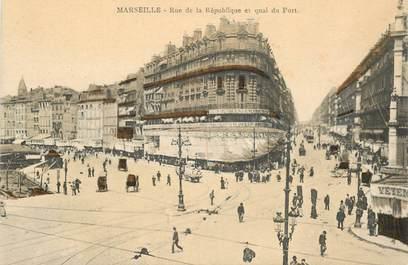"""CPA FRANCE 13 """"Marseille, rue de la République"""""""