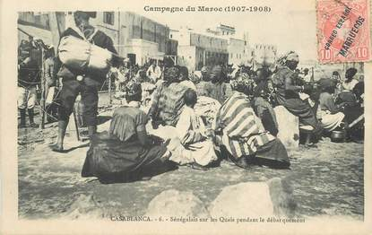 """CPA MAROC """"Casablanca, sénégalais sur les Quais"""""""