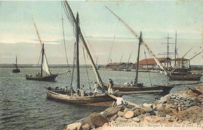 """CPA ALGERIE """"Philippeville, barques à voile"""""""