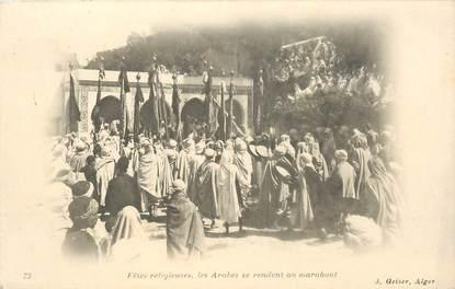 """CPA ALGERIE / SCENES ET TYPES """"Les arabes se rendant au marabout"""" / GEISER"""