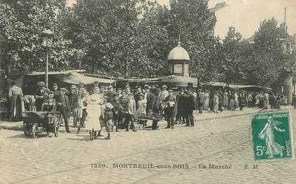 """CPA FRANCE 93 """"Montreuil sous Bois, le Marché"""""""