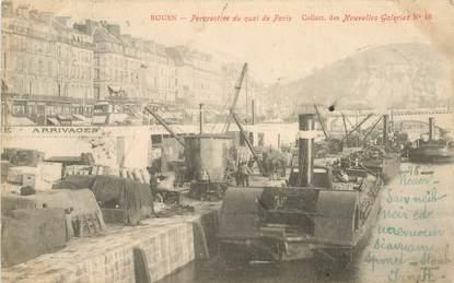 """CPA FRANCE 76 """"Rouen, perspective du quai de Paris"""" / COLLECTION DES NOUVELLES GALERIES"""