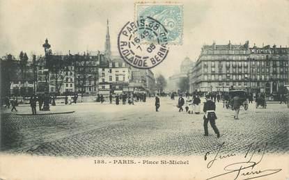 """CPA FRANCE 75005 """"Paris, Place Saint Michel"""""""