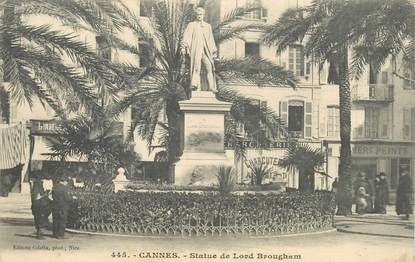 """CPA FRANCE 06 """"Cannes, statue de Lord Brougham"""""""