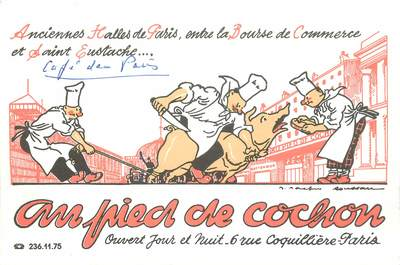 "CPSM FRANCE 75001 ""Paris, Restaurant Au Pied de Cochon"""