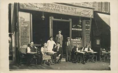 """CARTE PHOTO PARIS XIX / CAFÉ / RESTAURANT """"Restaurant A la Grande Tabatière, Place Jean Jaurès"""""""