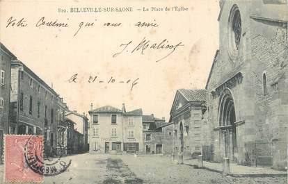 """CPA FRANCE 69 """"Belleville sur Saone, La Place de l'Eglise"""""""