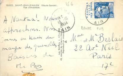 MARCOPHILIE FRANCE / BANDE PUBLICITAIRE sur CPSM 74 Saint Jean d'Aulph