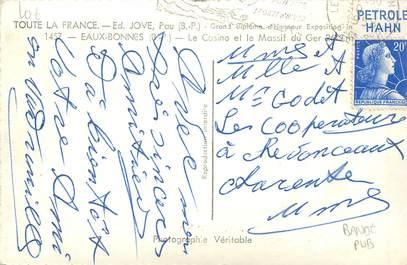 MARCOPHILIE FRANCE / BANDE PUBLICITAIRE sur CPSM 64 Eaux Bonnes