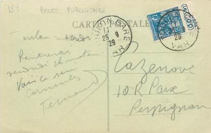 MARCOPHILIE FRANCE / BANDE PUBLICITAIRE sur CPA 83 Toulon