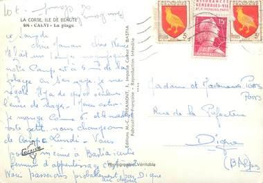 MARCOPHILIE FRANCE / BANDE PUBLICITAIRE sur CPSM 20 CORSE Calvi