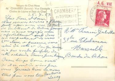 MARCOPHILIE FRANCE / BANDE PUBLICITAIRE sur CPSM 73 Chambéry