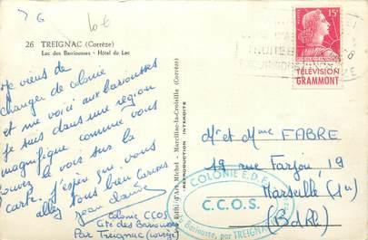 MARCOPHILIE FRANCE / BANDE PUBLICITAIRE sur CPSM 19 Treignac