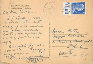 MARCOPHILIE FRANCE / BANDE PUBLICITAIRE sur CPSM 83 la Sainte Baume