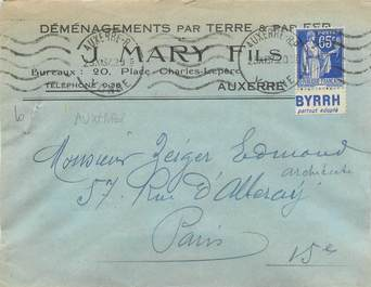 MARCOPHILIE FRANCE / BANDE PUBLICITAIRE sur lettre enveloppe 89 Auxerre