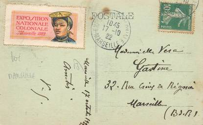 MARCOPHILIE VIGNETTE sur CPA FRANCE 13 Marseille, Exposition coloniale 1922