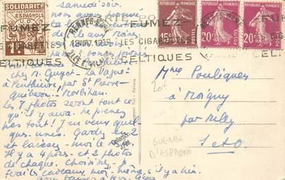 MARCOPHILIE VIGNETTE sur CPA 35 Saint Malo / GUERRE D'ESPAGNE